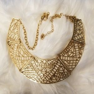 Aztec design gold plated necklace